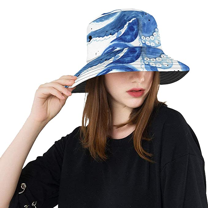 f372d13da73 Octopus Sea Devilfish Water Color New Summer Unisex Cotton Fashion Fishing Sun  Bucket Hats for Kid