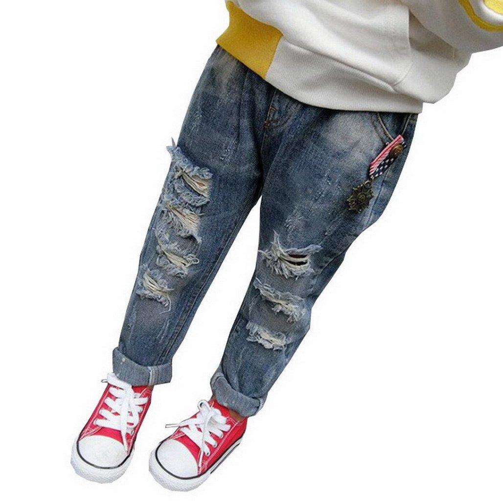 Evedaily Neonate Di Levigatura Jeans Strappati Bambini Del Denim Del Foro Rotto Legging Pantaloni Pantaloni