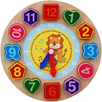 FnieYxiu Toys, Wooden Colorful 12 Numbers Clock Toy Digital Geometry Cognitive Kids Puzzles
