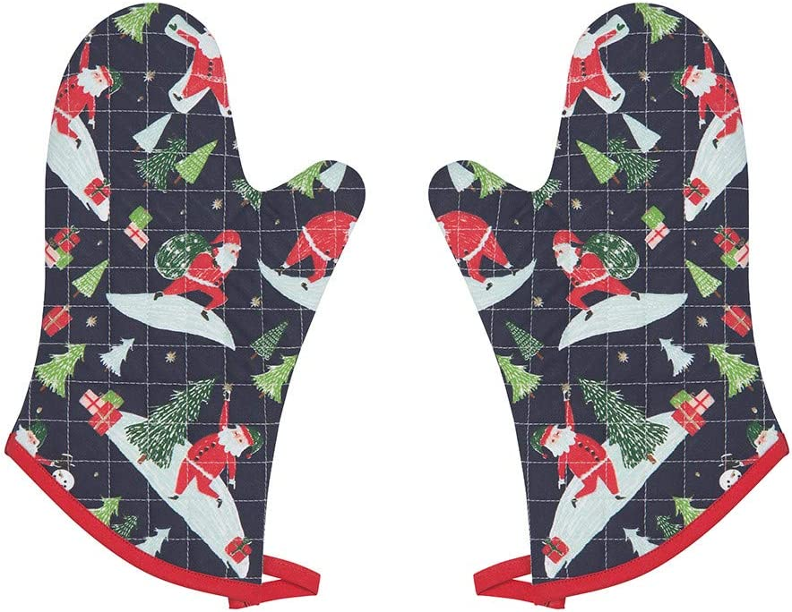 Now Designs Basic Oven Mitt, Must Be Santa - 6.5 x 13 in | Set of 2