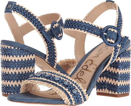 Sam Edelman Women's Olisa Denim Blue Heavy Woven Raffia 6 W US