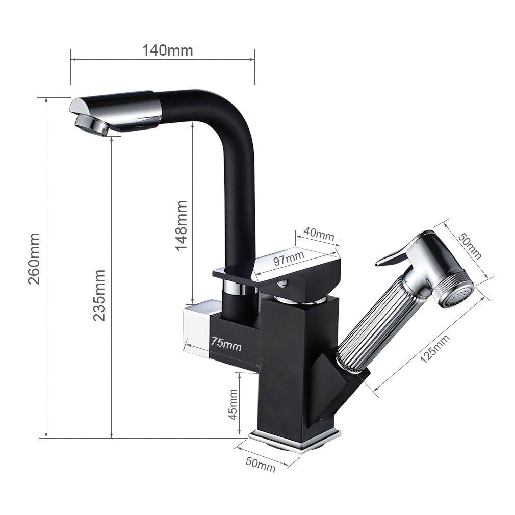 mitigeur monocommande pivotant /à 360 /° robinet pour cuisine avec pulv/érisateur /à double fonction Auralum Robinet de cuisine avec douchette extractible