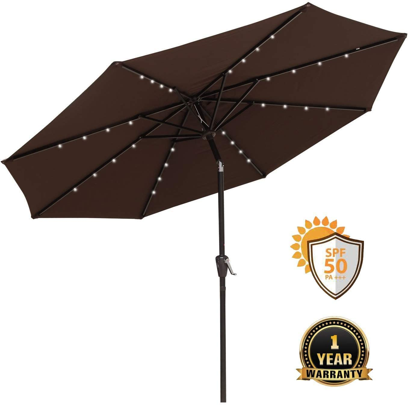 COBANA 9Ft Patio Umbrella Ourdoor Solar Powered Aluminum Polyester 32LED Lighted Umbrella with Tilt Adjustment and Fade-Resistant Fabric, Brown