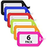 MIFFLIN Luggage Tags (Assorted, 6 Pack), Suitcase Tag, Bag Tag for Luggage