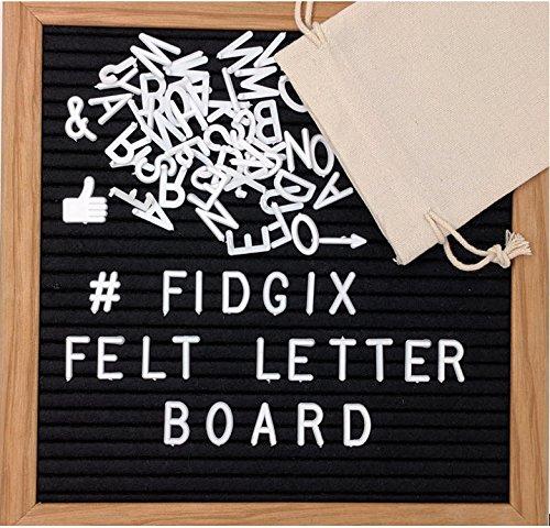 Fidgix Changeable Felt Letter Board 10x10 Inch - 340 White Letters Premium Oak Wood Frame Wall Mount Canvas Storage Bag for Letters Wooden Message Board Sign by Fidgix