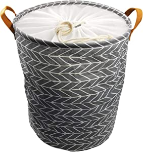 """SUPINEFOX US Large Collapsible Laundry Basket, Drawstring Waterproof Dirty Clothes Laundry Hamper,Foldable Linen Bin Storage Organizer with Handles for Kids Room,Toy Storage (19"""", Gray)"""