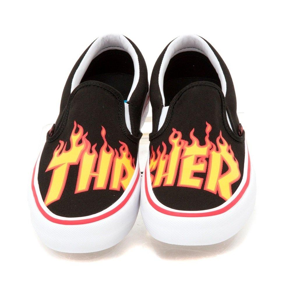 02c9604516d3c Amazon.com | Vans Men's x Thrasher Slip-On Pro (Thrasher) Black  Skateboarding Sneakers (US 3.5) | Fashion Sneakers