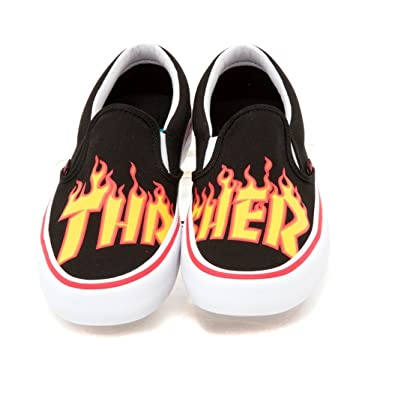 Amazon.com | Vans Men's x Thrasher Slip-On Pro (Thrasher) Black ...