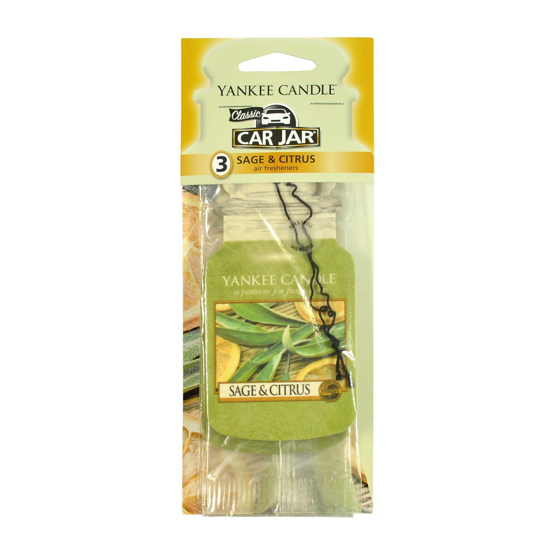 Yankee Candle Paper Car Jar Hanging Air Freshener Sage & Citrus Scent (Pack of 3)