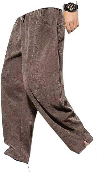 cheelot Men Oversized Waistband Stretchy Long Pants Chinese Style Leg Pants
