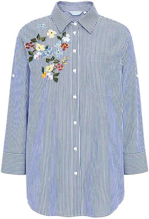 X Blusa Casual para Mujer Camisa a Rayas Top de Manga Larga para Mujer Camisa Bordada de algodón Azul para Mujer: Amazon.es: Productos para mascotas