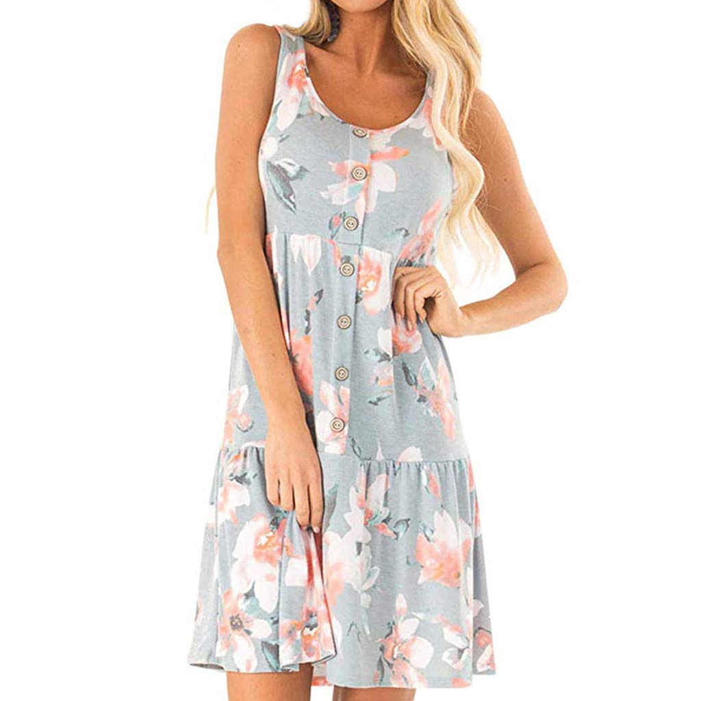 Hopeg Women Casual Button Sleeveless U Neck Floral Print Dresses - A-line Loose Evening Party Short Skirt,Summer Feel Cool,Home Outdoor by Hopeg