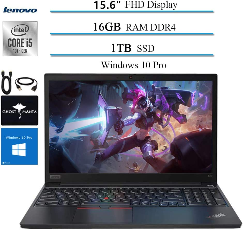 "2020 Lenovo ThinkPad E15 15.6"" FHD Business Laptop Computer, 10th gen Intel i5-10210U (up to 4.20GHz,Beat i7-8550u), 16GB RAM, 1TB SSD, WiFi HDMI Win10 Pro w/Ghost Manta Accessories"