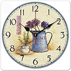 iCasso 12 Retro Vintage the Art of Inserting Flowers Euro Country Tuscan Style Non-Ticking Silent Wooden Wall Clock Wooden Wall Art Decor
