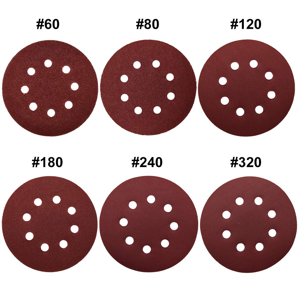 60 80 120 180 240 and 320 Grits MESTOOL sanding discs 8-Hole Abrasives Dustless Hook and Loop Discs