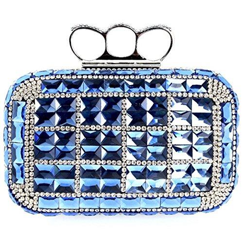 WenL Bolso De Embrague De Los Rhinestones del Bolso De Noche De La Moda Europea Y Americana,Silver Blue