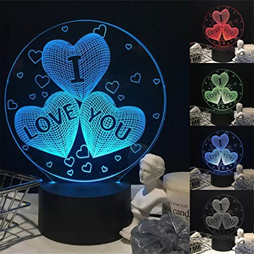 yipinco7285 I LOVE YOU Heart LED 3D Illusion Bedside Lamp Night Light Valentine's Day Gift