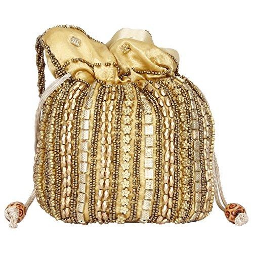 Traditional Satin Jaipuriya Style Potli Bag for Women & Girls (Golden) by Suman Handicraft
