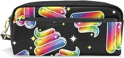 Estuche colorido con diseño de caca de arcoíris, estuche para lápices, estuche para artículos de papelería escolar, bolsa de maquillaje para viajes: Amazon.es: Oficina y papelería