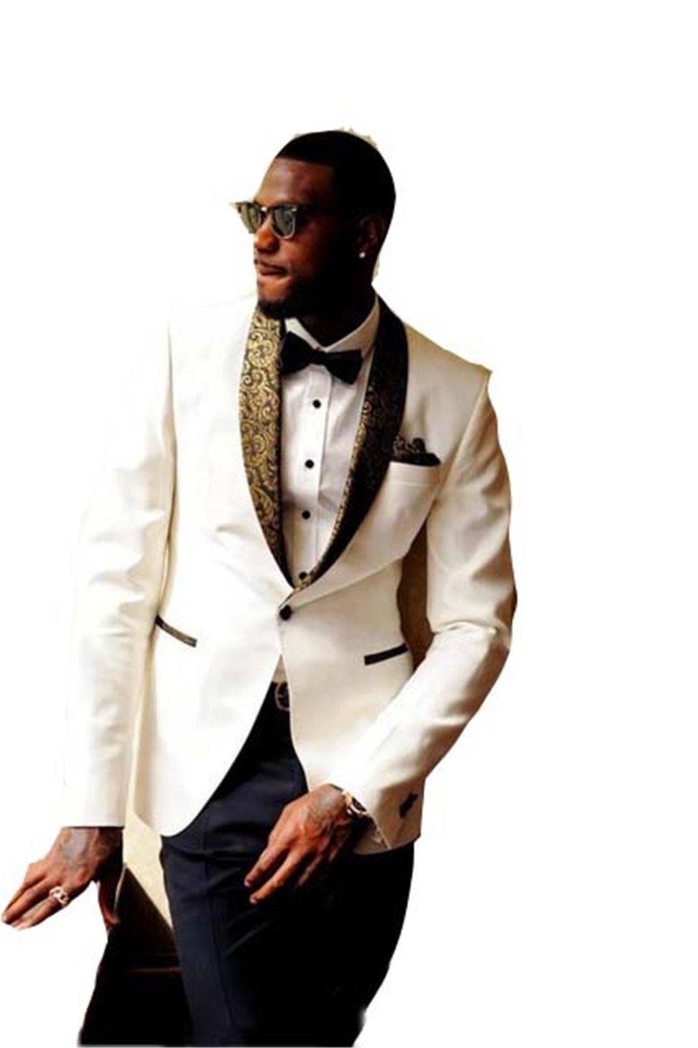 White Men Wedding Suits Slim Fit Bridegroom Custom Men Slim Fit Tuxedos by Brightmenyouth