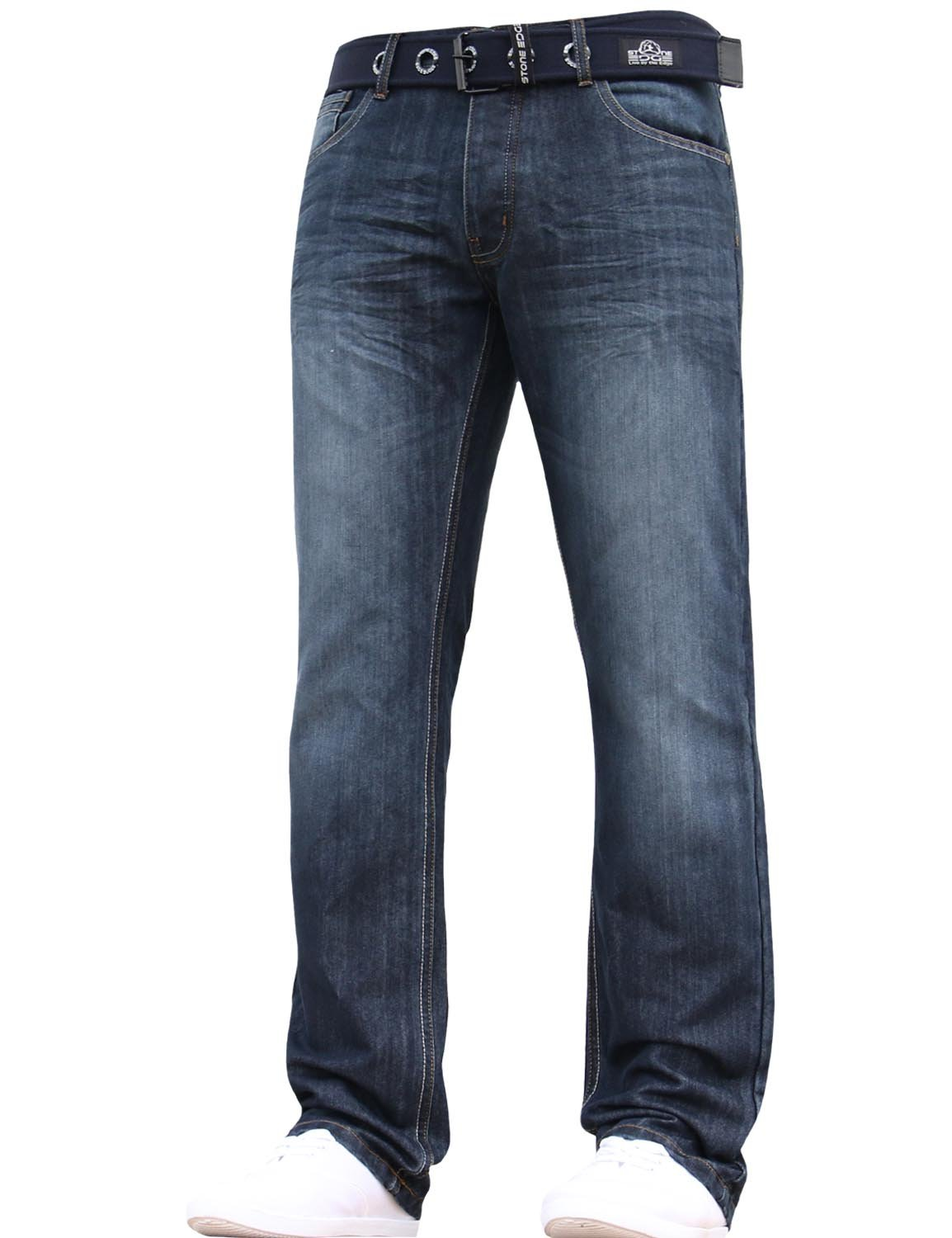 Stone Edge Mens Designer Straight Regular Denim Jeans Pants All Waist Leg Sizes