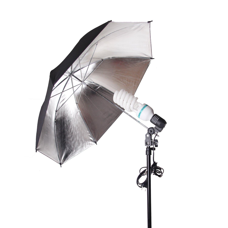 2 piece POLAM-FOTO 33//84cm Professional Reflective umbrella studio lighting Black//Silver Umbrella