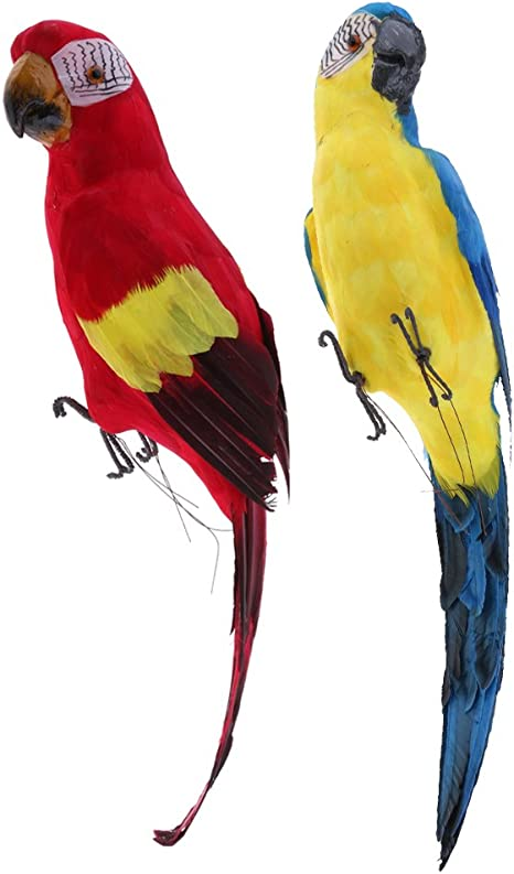 2x Realistic Macaw Parrot Trees Bird Artificial Feathered Model Home Decor