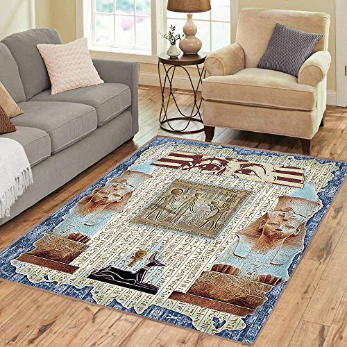 Rug,Floor Mat Rug,Egypt,Area Rug,Traditional Hieroglyph Backdrop with Mummy Pyramids and Bastet Collage Art,Home mat,2'x3'Army Green Beige,Rubber Non Slip,Indoor/Front Door/Kitchen and Living Room/Bed