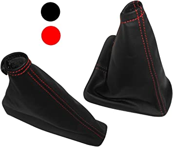 Set of Gear Lever Shift Collar and Hand Brake Gaiter Covers of 100/% Genuine Black Leather with Red stitching. Aerzetix