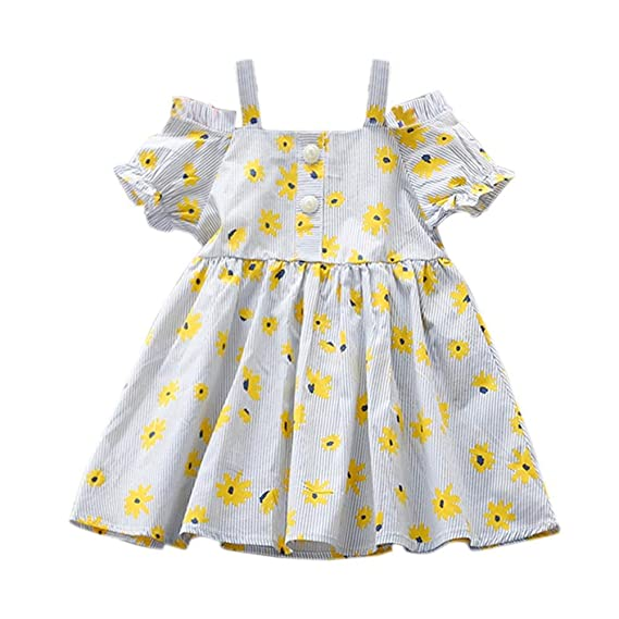 7564d85489 Vodool Fashion Cute Girls Kid Off Shoulder Floral Print Dress Short Sleeve  Clothes: Amazon.in: Clothing & Accessories