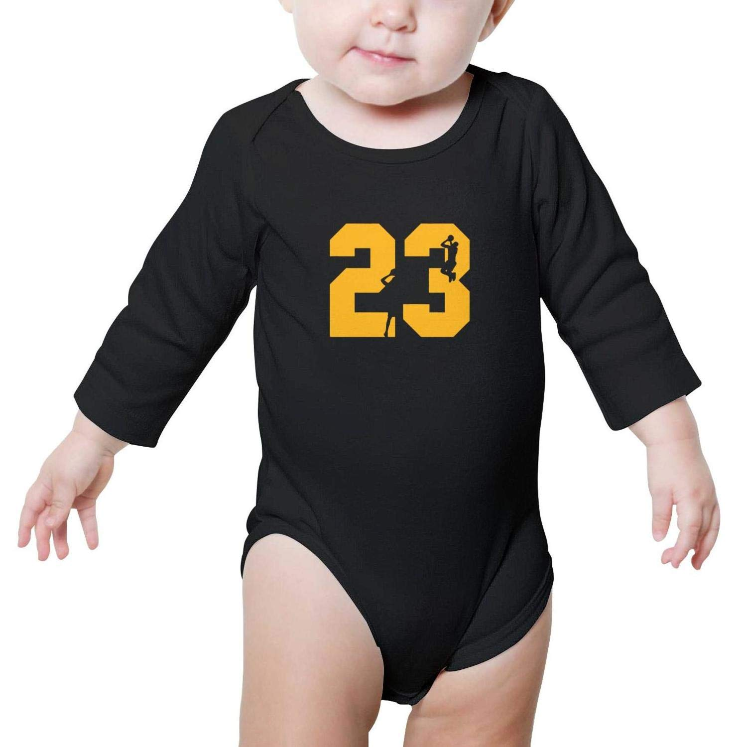 HAPPOBASKA La-Bron-23 Baby Boys Girls Cute Baby Bodysuit Onesies