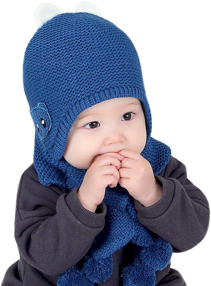 callm 2ピース ユニセックス 子供用 冬用 暖かいベビーグローブ+帽子 ウールニット イヤーハット