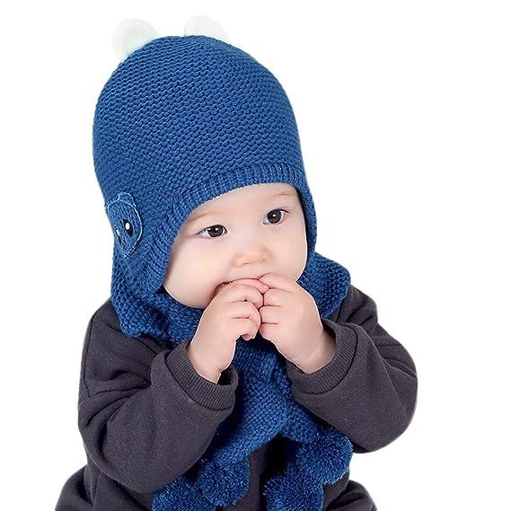 66d35fb2774 Malloom Bebé Sombrero y Bufandas, Sombrero de punto de lana para bebé  unisex infantil de
