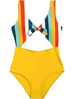 4f5769fa12 SweatyRocks Women s One Piece Swimsuit Solid Color Knot Front Cutout  Monokini Bathing Suits