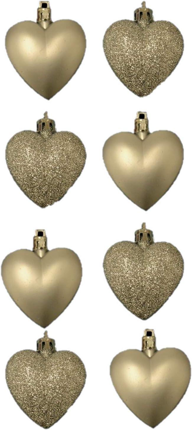Matt Heart Shaped Christmas Tree Baubles 8 x 5cm CHAMPAGNE GOLD Glitter