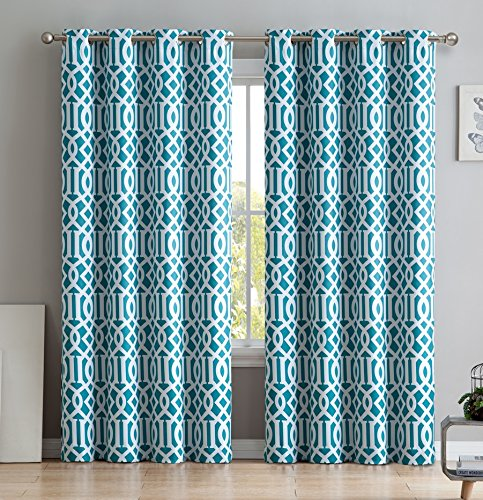 HLC.ME Trellis Printed Blackout Room Darkening Thermal Grommet Window Curtain Drape Panels for Bedroom - Set of 2 - Teal Blue - 84