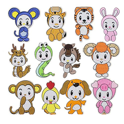 Ximkee (12 Pack) Chinese Zodiac Embroidered Sew or Iron on Applique Patches
