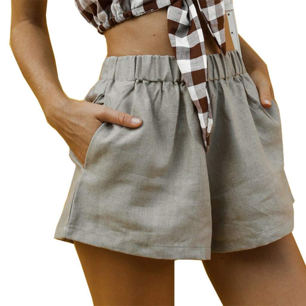 ZEFOTIM ✿ Loose Casual Shorts for Women Summer High Waist Cotton Linen Pockets Shorts Pants(Gray,X-Large) by ZEFOTIM