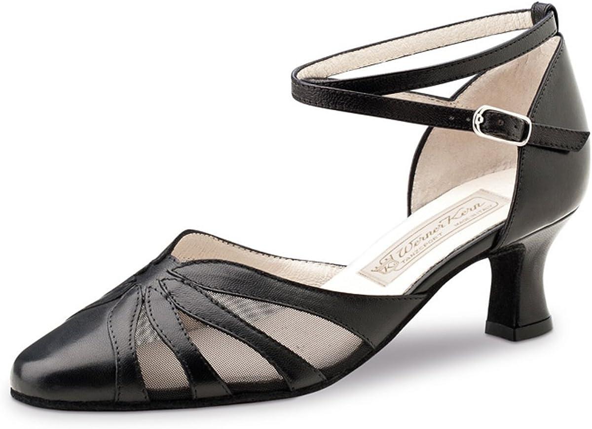 Damen Tanzschuhe Brooke Made in Italy 6,5 cm Leder Schwarz//Rot Werner Kern