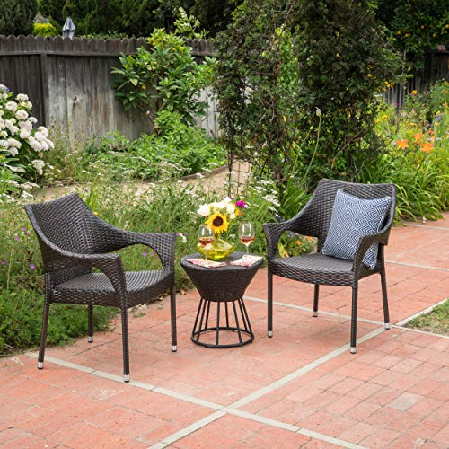 - GDF Studio Álfheimr Outdoor 3 Piece Multi-Brown Wicker Stacking Chair Chat Set (Framed Hour Glass Table)