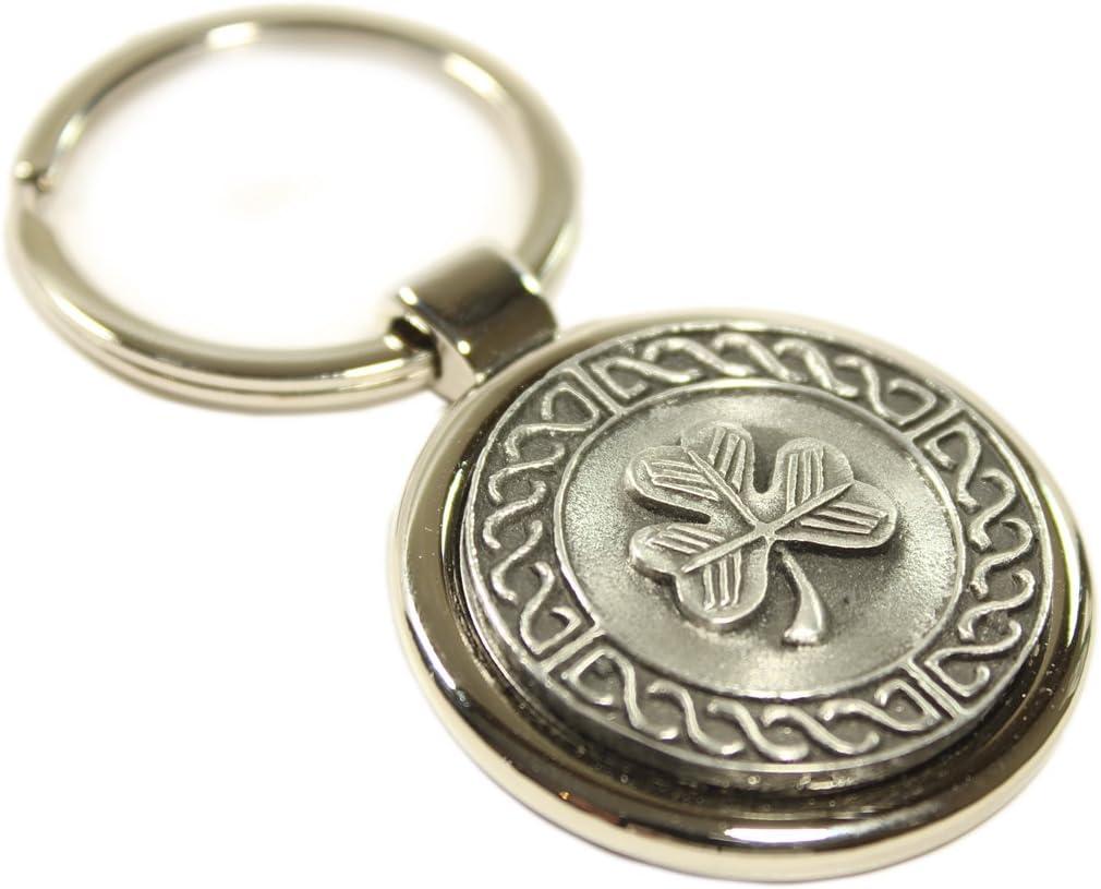Irish Keychain Shamrock Celtic Weave Pewter & Stainless Steel Irish Made