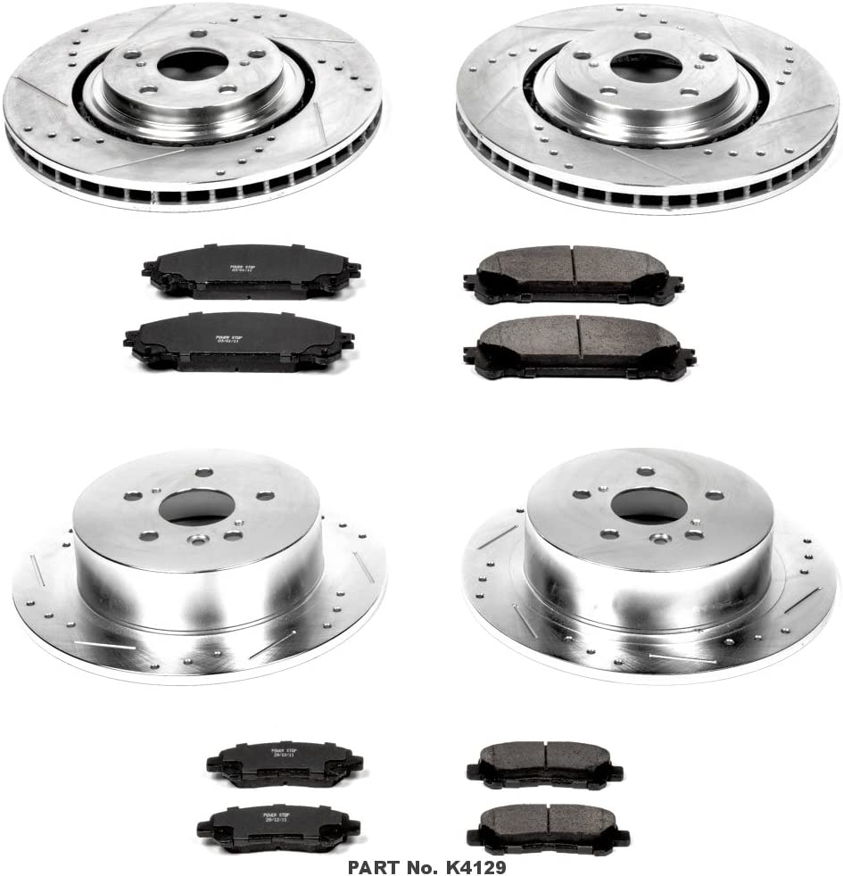 Power Stop K4127 Front and Rear Z23 Evolution Kit with Drilled//Slotted Rotors and Ceramic Brake Pads