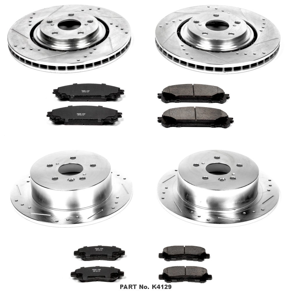 Power Stop K4129 Front and Rear Z23 Evolution Brake Kit with Drilled/Slotted Rotors and Ceramic Brake Pads by POWERSTOP (Image #1)