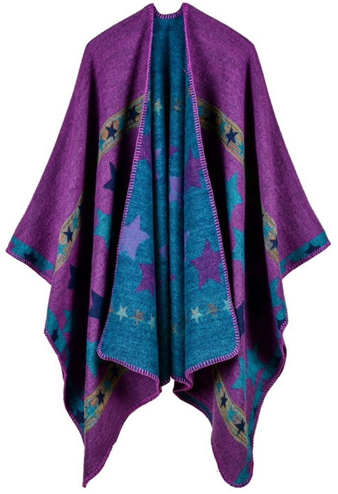 QZUnique Women's Open Front Bohemia Retro Style Pattern Poncho Shawl Cape Purple Stars
