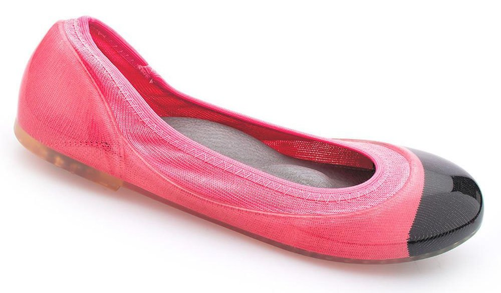 JA VIE Womens Dress Flats Casual Shoes for Women for Every Day Wear Driving Walking,Black Cap/Bright Pink SZ 38