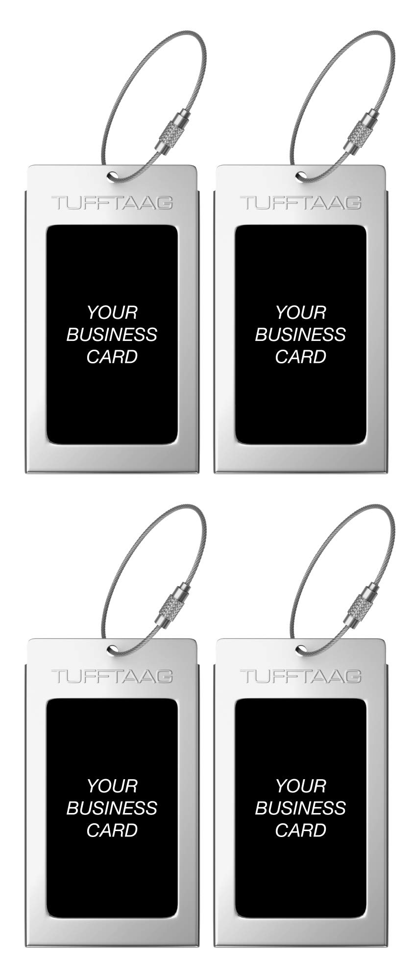 Luggage Tags TUFFTAAG for Business Cards, Metal Suitcase Labels, 4 Pack Bundle (4 Steel) by ProudGuy