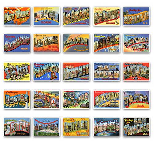 nd famous United States cities vintage reprint postcard set of 50 postcards. Large Letter major US city name post card variety pack (ca. 1930's-1940's). Made in USA. ()
