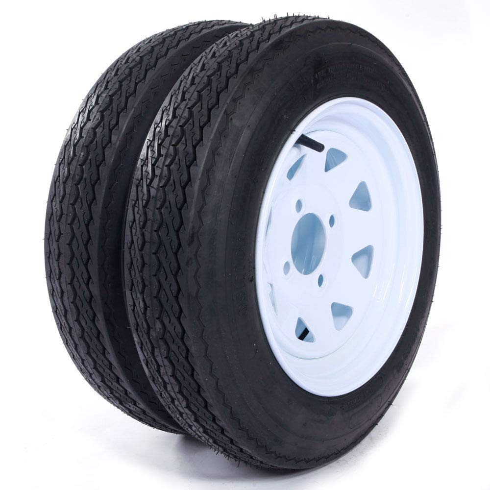 eCustomRim Two Trailer Tires & Rims 4.80-12 480-12 4.80 X 12 12 LRB 4Lug Wheel White Spoke