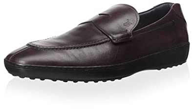 Tods Mens Leather Loafer, Dark Red, ...