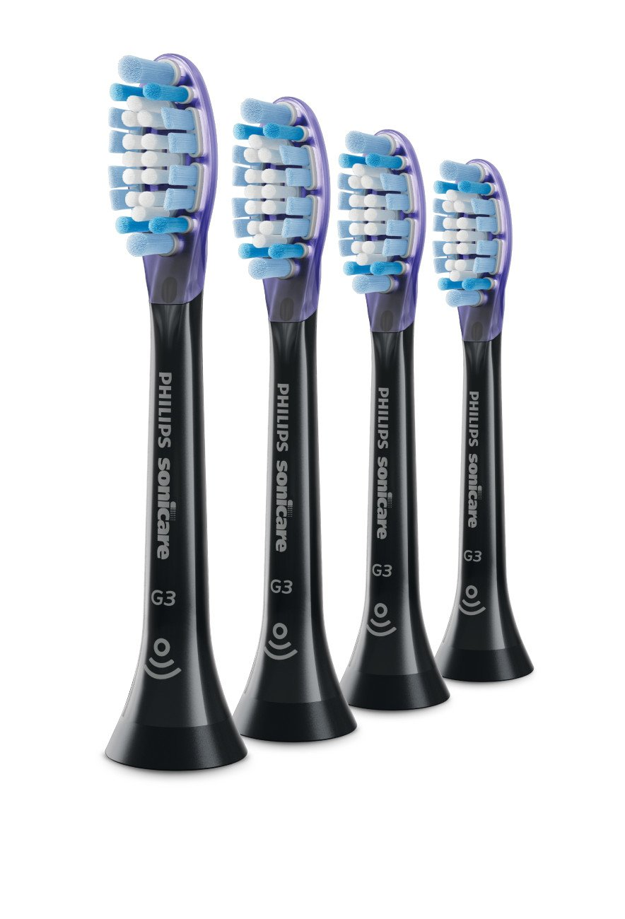 Genuine Philips Sonicare Premium Gum Care replacement toothbrush heads, HX9054/95, BrushSync technology, Black 4-pk by Philips Sonicare